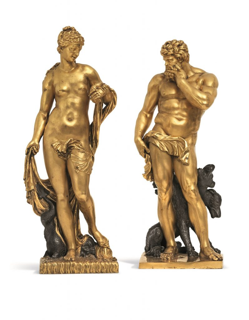 Exceptional A PAIR OF LARGE PARCEL-GILT BRONZE FIGURES OF PLUTO AND AMPHITRITE